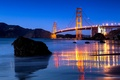 Picture stones, reflection, San Francisco, Golden Gate, California, lighting, the city, the evening, water, bridge, Golden ...