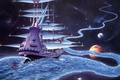 Picture ship, planet, stars, journey, The Ether Stream, Rodney Matthews, worlds, river