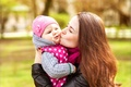 Picture woman, tenderness, child, kiss, jacket, girl, mom, baby, child, baby, infant