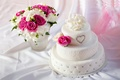 Picture white, flowers, heart, roses, cake, freesia, wedding