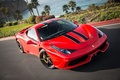Picture red, palm trees, Ferrari, red, flowers, 458 speciale, ferrari, the bushes, lawn