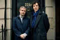 Picture the door, actors, Sherlock Holmes, men, Season 3, Martin Freeman, Martin Freeman, Benedict Cumberbatch, Benedict ...