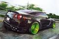 Picture Nissan, speed, drives, Art, GT-R, green, Liberty Walk
