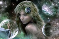 Picture girl, flowers, bubbles, the universe, planet, male