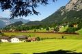 Picture mountains, field, train, Austria, railroad, houses, forest, LBraz