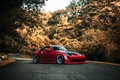 Picture road, autumn, red, red, Nissan, Nissan, 350Z, stance, kit