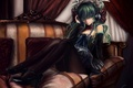 Picture flowers, sofa, hatsune miku, art, cj man, headphones, girl, vocaloid