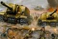 Picture ISU-152, war, St. John's wort, Wallpaper, attack