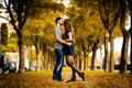 Picture autumn, kiss, pair, alley, lovers, Autumn Love