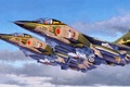 Picture war, art, painting, jet, avaition, Mitsubishi F-1