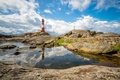 Picture reflection, stones, rocks, lighthouse, Norway, Rogaland