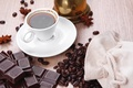 Picture morning, morning, chocolate, coffee beans, coffee beans, a Cup of coffee, chocolate, a Cup of ...