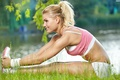 Picture stretching, workout, blonde, fitness