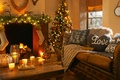 Picture interior, candles, interior, heart, candles, love, Christmas tree lights, fireplace, lights, Christmas tree, love, heart, ...