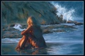 Picture sea, wave, girl, sunset, rocks, romance, figure, graphics, picture, the evening, dress, blonde, painting, gently, ...