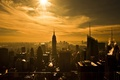 Picture the sun, the city, bright, New York, from the height of bird flight