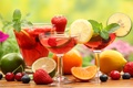 Picture olives, lemon, table, drink, fruit, orange, glasses, cherry, lime, strawberry, berry