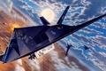 Picture unobtrusive, the plane, Night Hawk, for, the enemy, single, attacks, ground, Defense, Lockheed F-117, designed, ...
