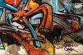Picture multi monitors, figure, graffiti, wall, abstraction