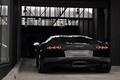 Picture reflection, lamp, black, Windows, Parking, lamborghini, black, back, aventador, lp700-4, Lamborghini, aventador, the curb