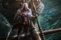Picture fan art, ship, beams, hood, guy, Assassin's Creed, rain, saber