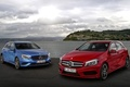 Picture red, Mercedes-Benz, shore, Mercedes, A-class, the front, the sky, hatchback, blue, A-class