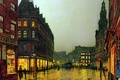 Picture picture, showcase, light, signs, home, people, the city, Windows, street, John Atkinson Grimshaw, lights
