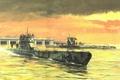 Picture figure, boats, art, underwater, submarine, type, waters, German Navy, France. WW2, VIIC, diesel, IXC, the ...
